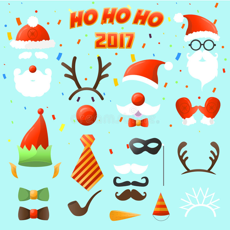 Set of Christmas party elements. stock illustration