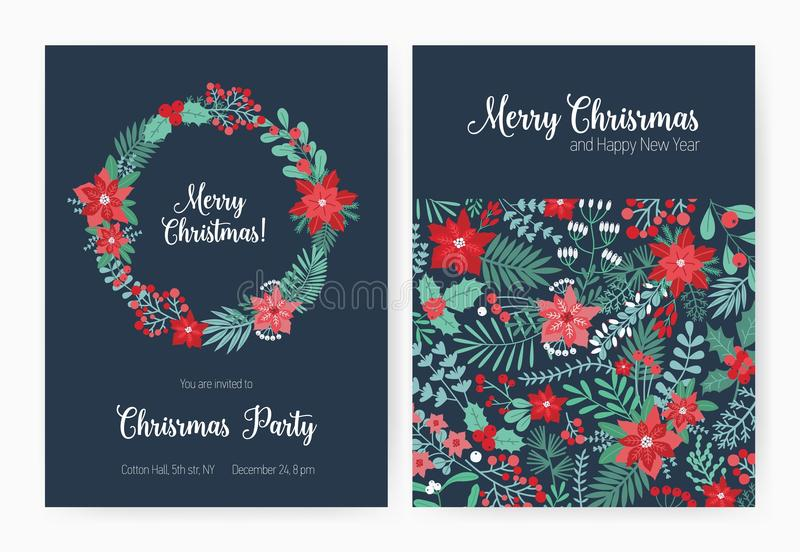 Set of Christmas party invitation, event announcement flyer or greeting card templates with traditional holiday natural royalty free illustration