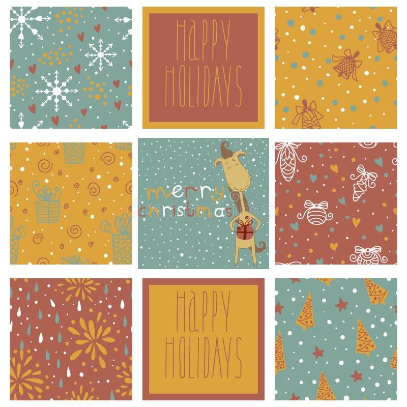 Set of christmas patterns (seamlessly tiling). Ye vector illustration