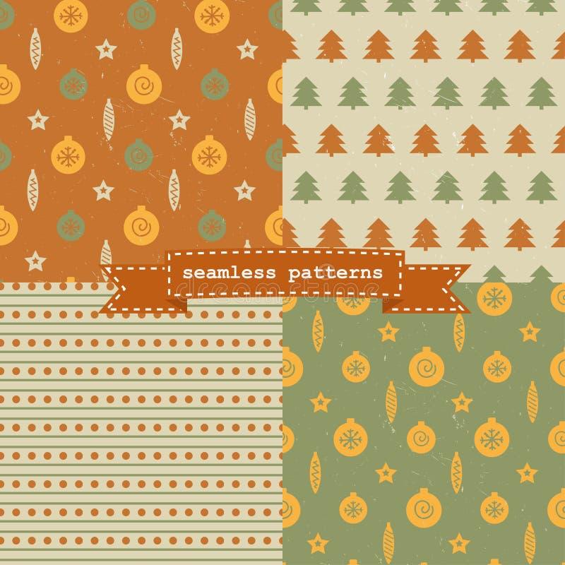 Set of Christmas patterns stock illustration