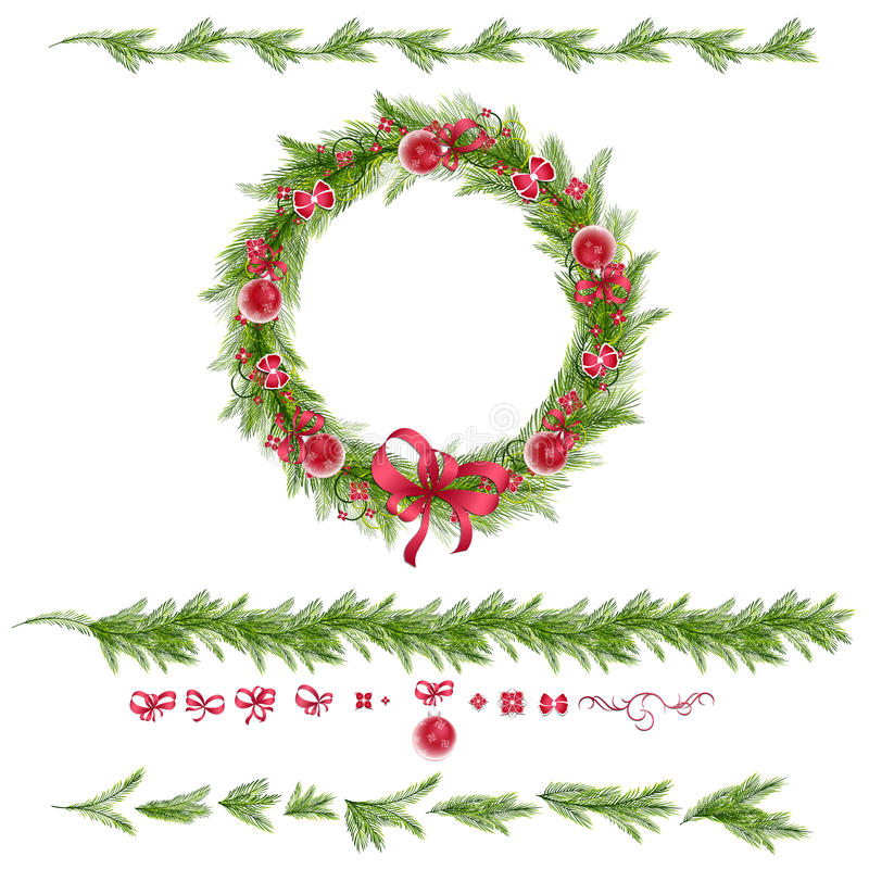 Set of christmas pine twigs and holiday decorations. Christmas wreath with christmas balls, abstract flowers. Christmas borders. Set of christmas pine twigs and vector illustration