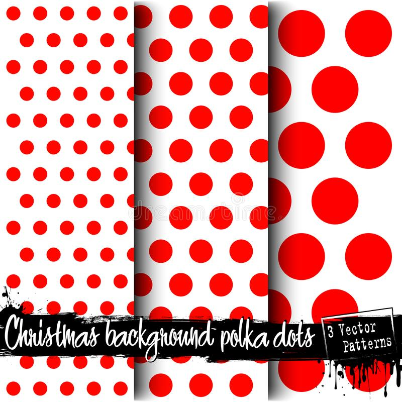 Set of Christmas polka dot backgrounds vector illustration