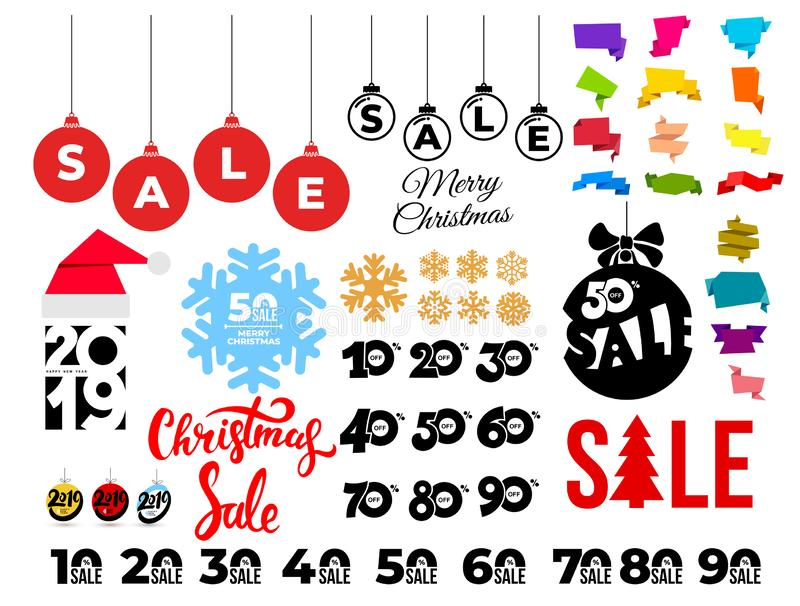 Set of Christmas sale. Template banners with hand draw pattern. Winter promotion vertical coupon. Applicable for discount flyer, royalty free illustration