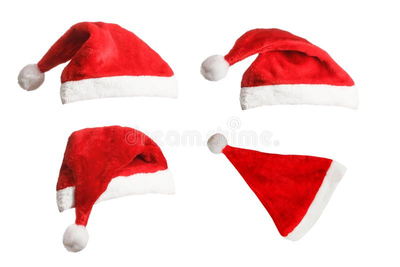 Collection of Santa fur hats royalty free stock photos