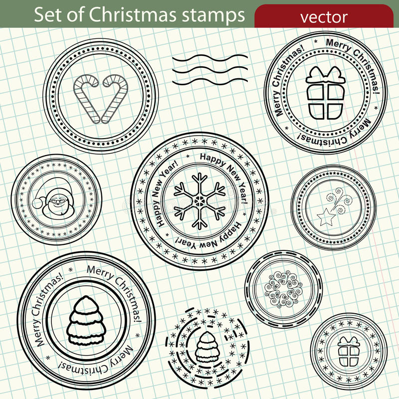 Set of Christmas stamps. stock photography