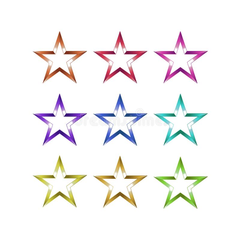 Set of christmas star with beautiful gradient vector illustration for graphic design, logo, web site, social media, mobile app, ui.  royalty free illustration
