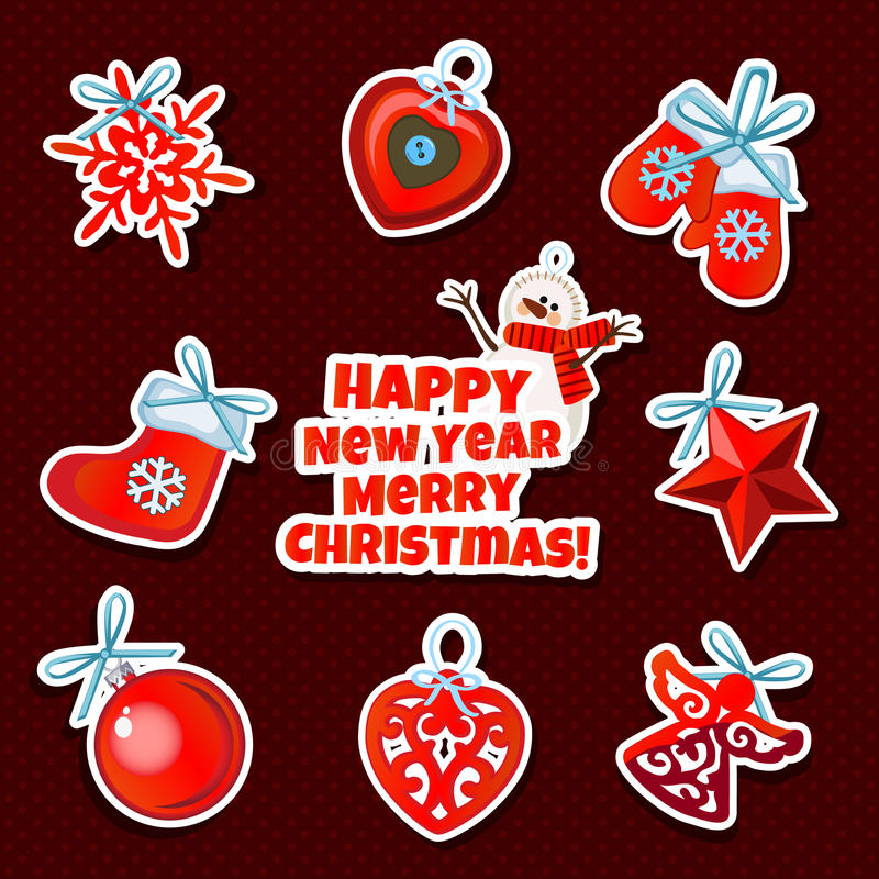 Set of Christmas sticker toys on a red background royalty free illustration