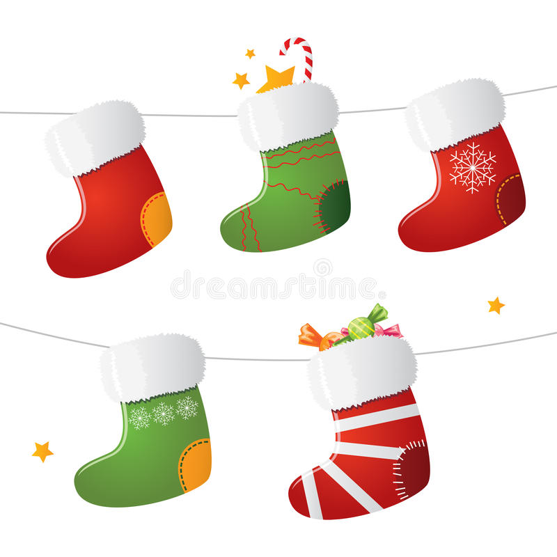 Set of Christmas stockings. Bitmap picture with an additional vector file royalty free illustration