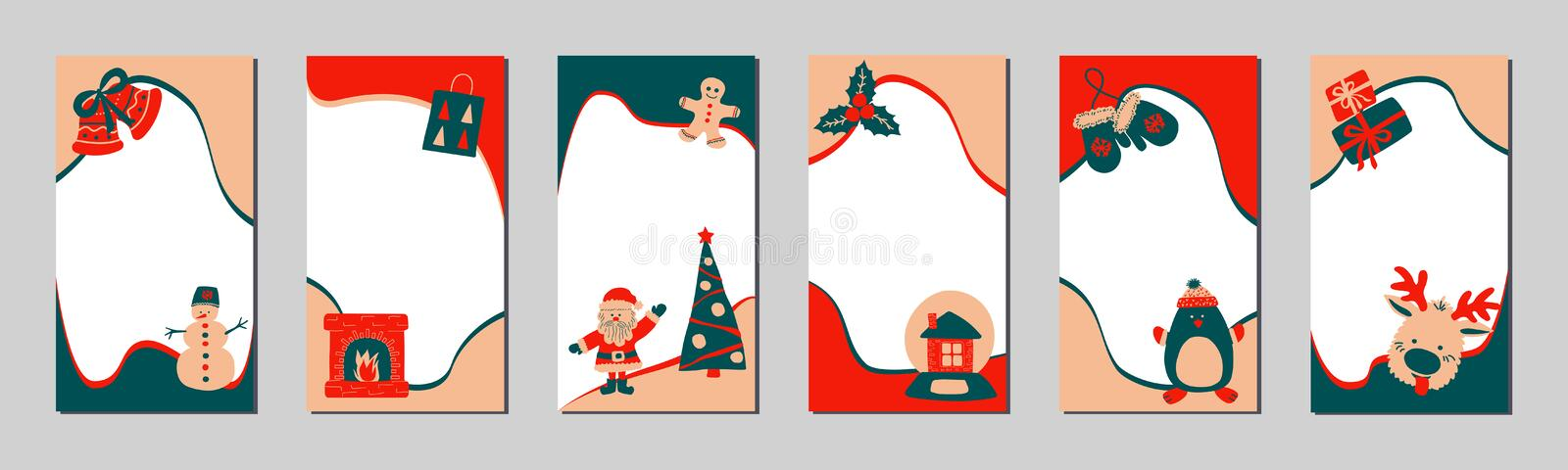 Set of Christmas stories template for social networks in the style of Scandinavian simple hand drawing. Holiday frames royalty free illustration