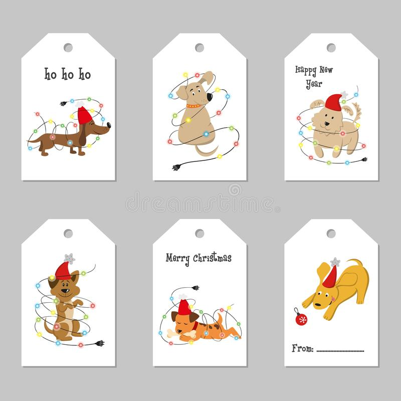 Set of Christmas tags with cartoon dogs. vector illustration