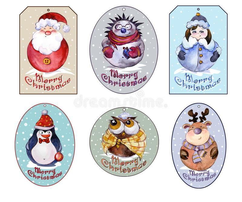 Set of Christmas tags with Santa, Snow Maiden and funny animals. Sign Merry Christmas. Watercolor painting. Hand painted. Isolated on white background. Labels stock illustration