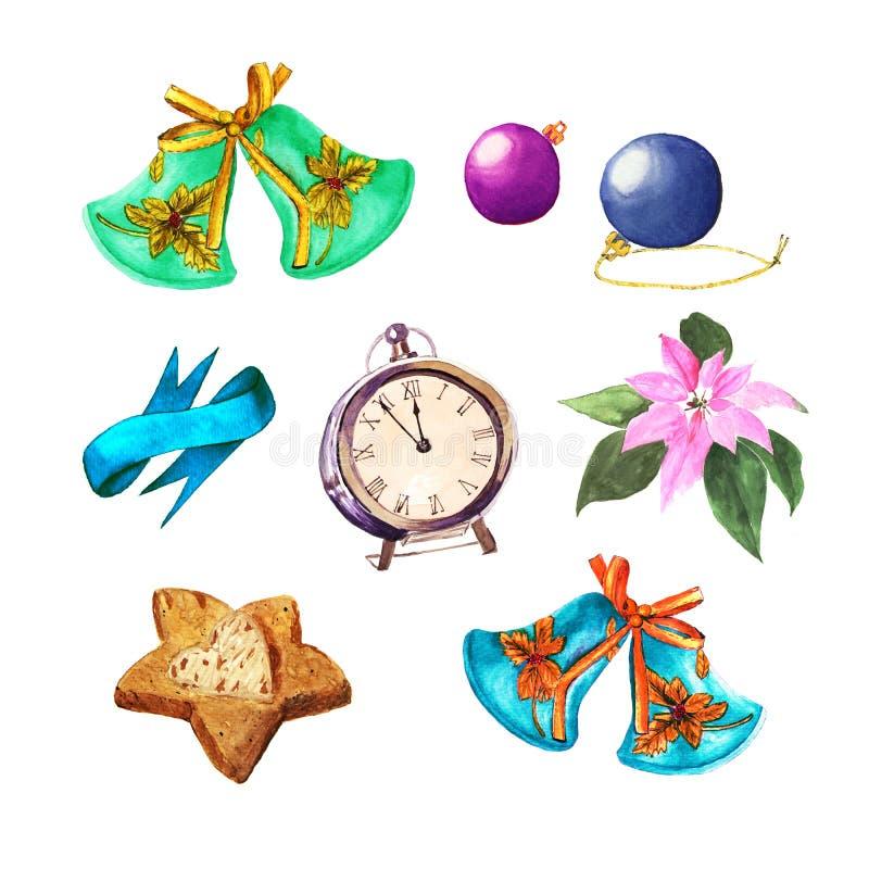 Set of Christmas things. Balls, bells, clock, cookies, ribbon and Poinsettia. Watercolor Xmas decoration stock illustration