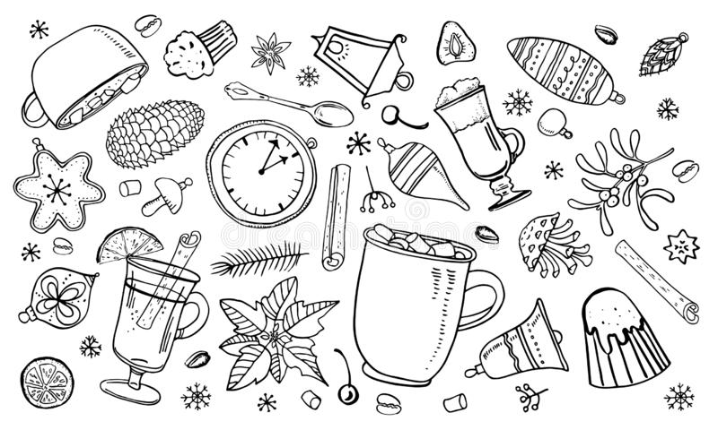 Set with Christmas toys, cups with hot drinks and winter details. Hand drawn outline vector sketch illustration royalty free illustration