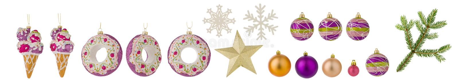 Set of Christmas toys isolated on white background. Balls, spruce branch, snowflakes and other toys as clipart for design stock photo