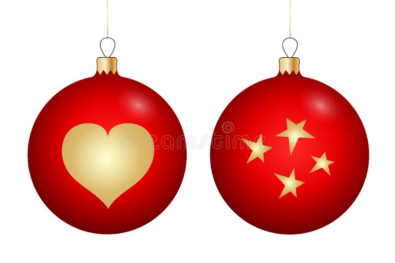 Set of Christmas toys in red with a gold pattern royalty free illustration