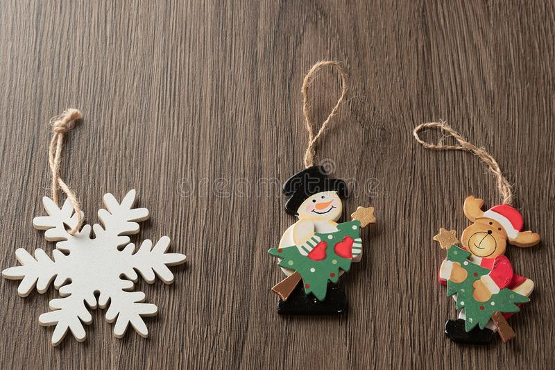Set of Christmas traditional  tree decorations, snowflake, snowman, Santa deer. Set of Christmas traditional Christmas tree decorations, snowflake, snowman stock photography