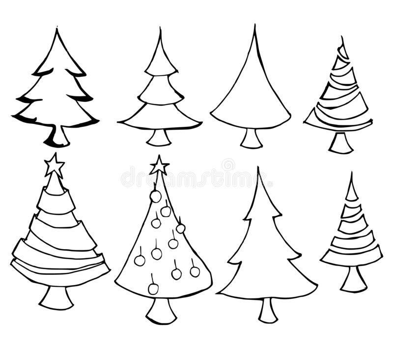 Set of Christmas tree icon Drawing illustration Hand drawn doodle Sketch line vector eps10 stock illustration
