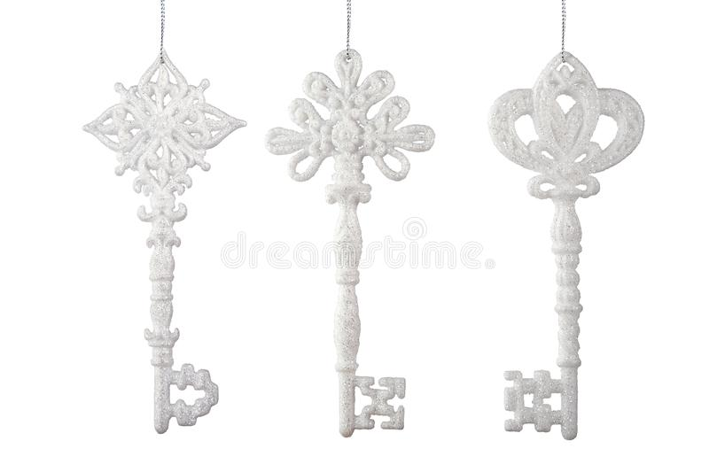 Set of Christmas tree toy key shape  for decoration and design isolated on a white background royalty free stock photos