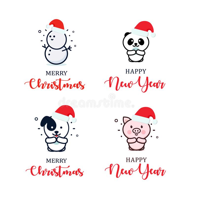 Set of Christmas tree toys, vector icons. Template for logo, greeting card, flyer, posters and banners. Cartoon style vector illustration