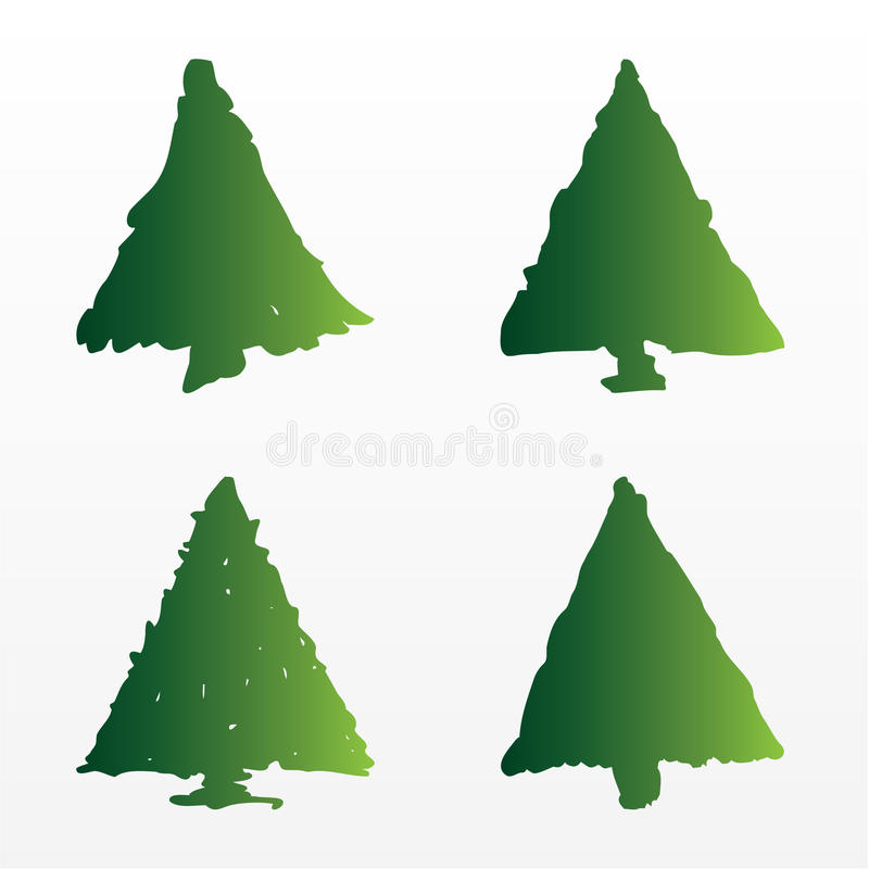 Download A set of  Christmas trees stock vector. Image of image - 10595063
