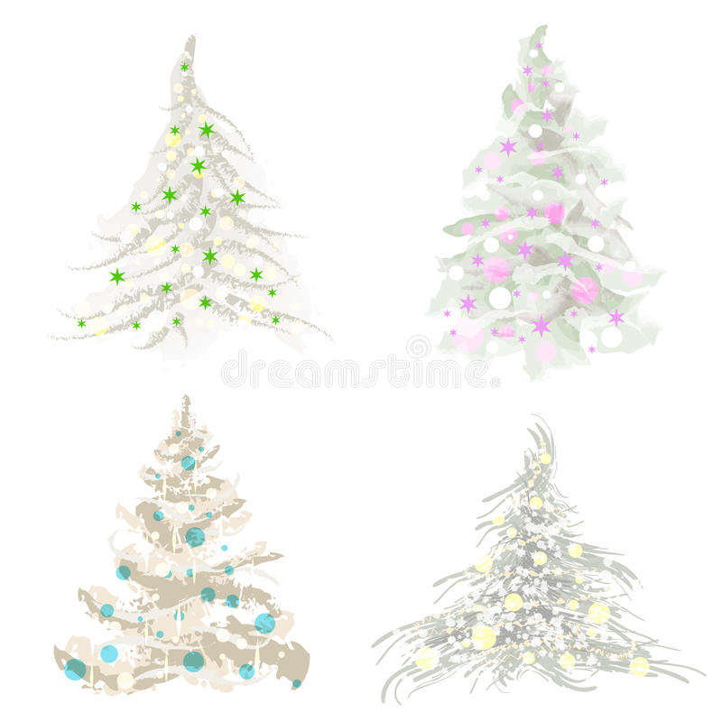 Download Set of christmas trees stock illustration. Illustration of holiday - 20616690