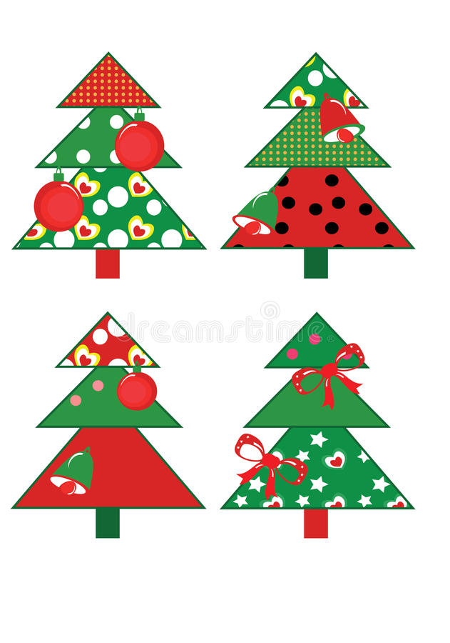 Set of christmas trees. vector illustration