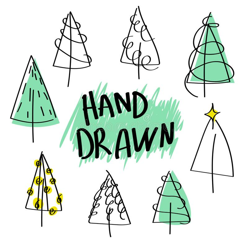 Set of christmas trees black outline drawn by hand. Doodle style royalty free illustration