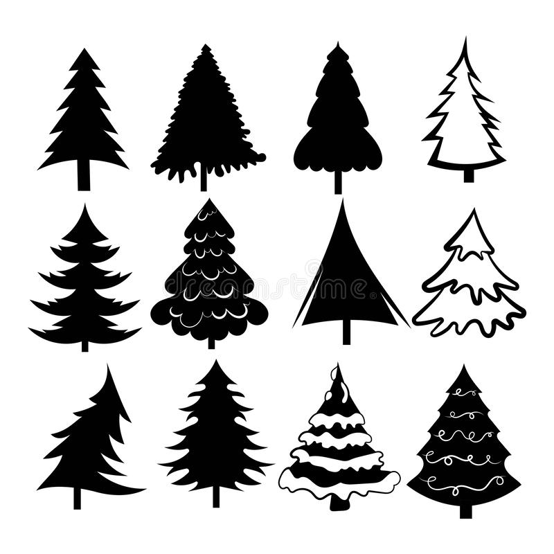 Set of Christmas trees. Collection of stylized Christmas trees. Black white illustration of forest elements. New Year. royalty free illustration