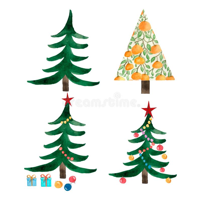 Set of christmas trees and orange tree. Decoration balls, star and light bulb chain decorated christmas tree,boxes with present stock illustration