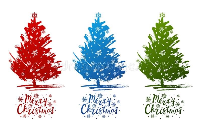 Set of Christmas trees sketches vector illustration