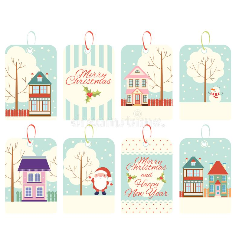 Set of Christmas vertical gift tag, card, badge, sticker in retro style. Inscription - Merry Christmas and Happy New Year. Vector template card for greeting royalty free illustration