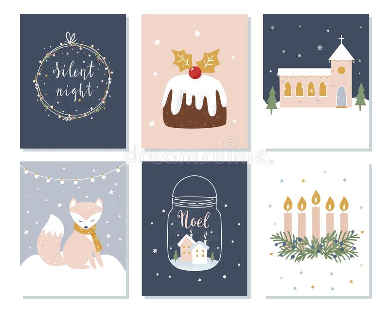 Set of Christmas and Winter Holidays Cards. Advent Wreath, Church and Lettering Signs. Vector Illustration.  vector illustration