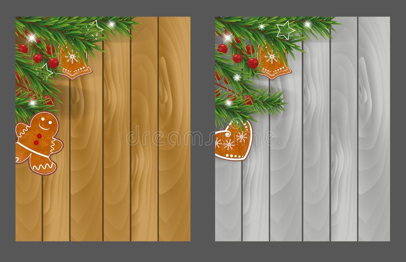 Set Christmas wooden backgrounds with Gingerbread cookies, Christmas tree branches and Holly berries for Xmas and New Year design. Vector illustration royalty free illustration