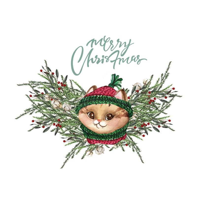 Set of Christmas Woodland Cute forest cartoon bear cute owl, cat and racoon animal character. Winter set of new year floral royalty free illustration