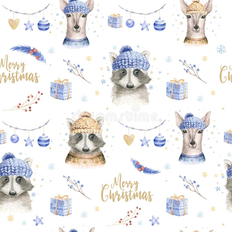 Set of Christmas Woodland Cute forest cartoon deer and cute raccoon animal character. Winter set of new year floral. Elements, bouquets, berries, fllower, snow royalty free stock photos