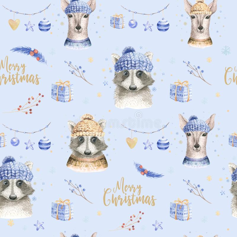 Set of Christmas Woodland Cute forest cartoon deer and cute raccoon animal character. Winter set of new year floral. Elements, bouquets, berries, fllower, snow royalty free stock photo