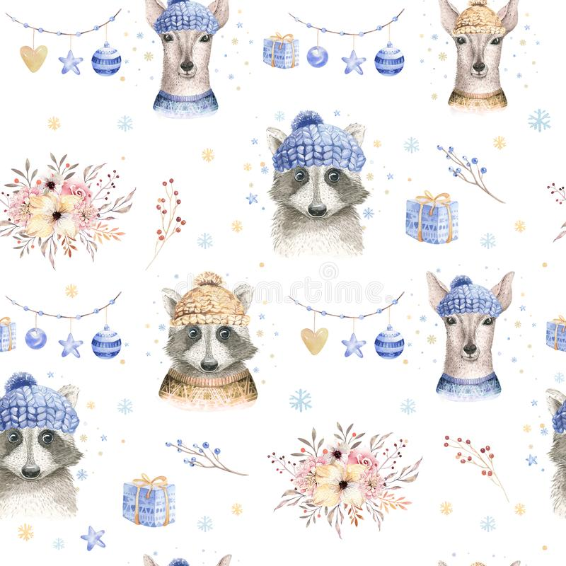 Set of Christmas Woodland Cute forest cartoon deer and cute raccoon animal character. Winter set of new year floral. Elements, bouquets, berries, fllower, snow stock images
