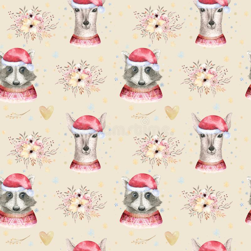 Set of Christmas Woodland Cute forest cartoon deer and cute raccoon animal character. Winter set of new year floral. Elements, bouquets, berries, fllower, snow stock image