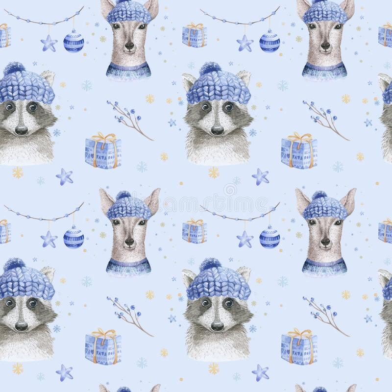 Set of Christmas Woodland Cute forest cartoon deer and cute raccoon animal character. Winter set of new year floral. Elements, bouquets, berries, fllower, snow royalty free stock image
