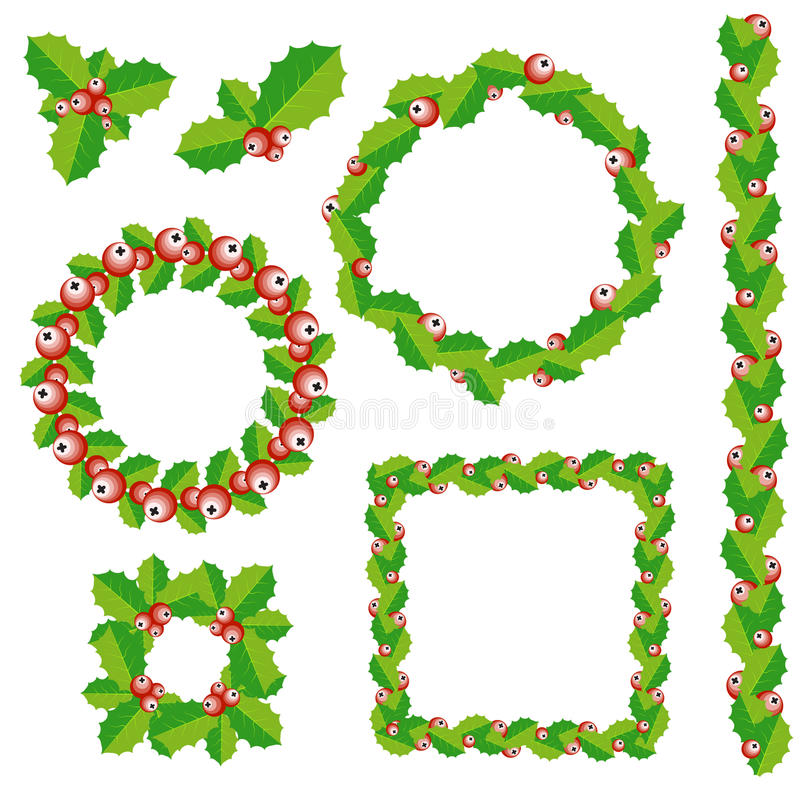 Set of Christmas wreath, frames and borders. stock illustration