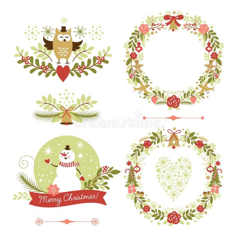 Set of Christmas wreaths, frames ,holiday symbols vector illustration
