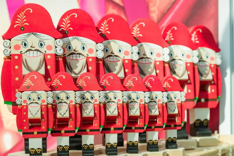 Set of chritmas wooden nutcrackers on the shelf.  traditional Christmas market in Moscow, Russia royalty free stock photography
