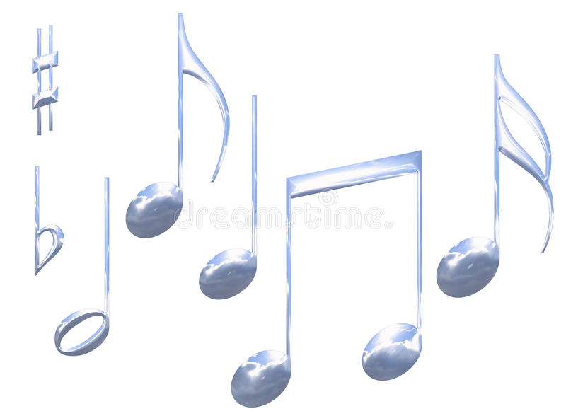 Download Set Of Chrome Metal Musical Note Symbols Isolated Stock Illustration - Image: 9478670