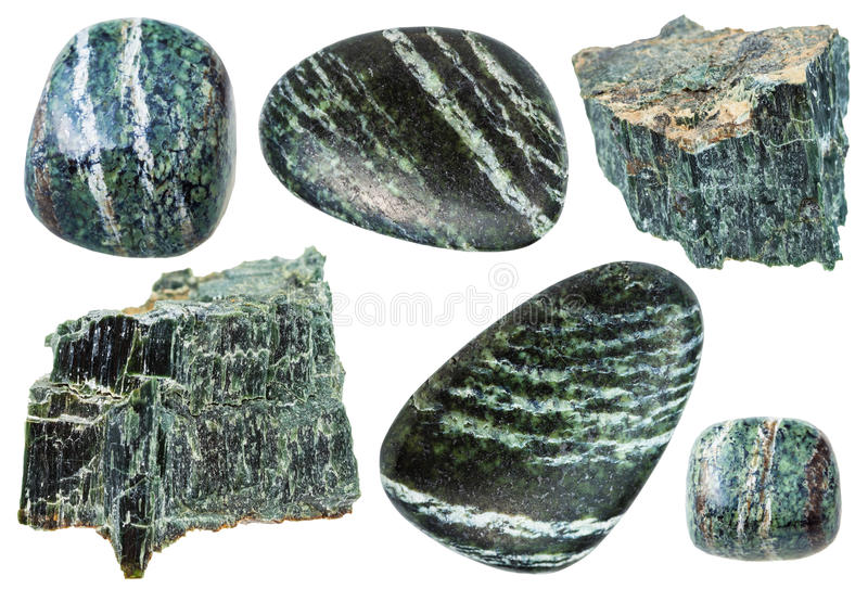 Set of Chrysotile gemstones isolated stock photo