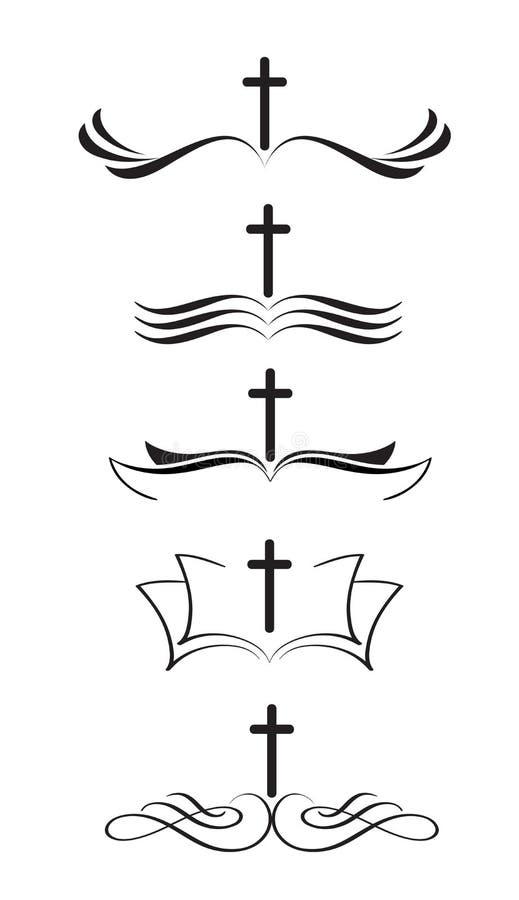 Set chrześcijański loga krzyż, biblia i stylizowana ręka rysująca rocznik kaligrafii literowania Wektorowa ilustracja EPS10 royalty ilustracja