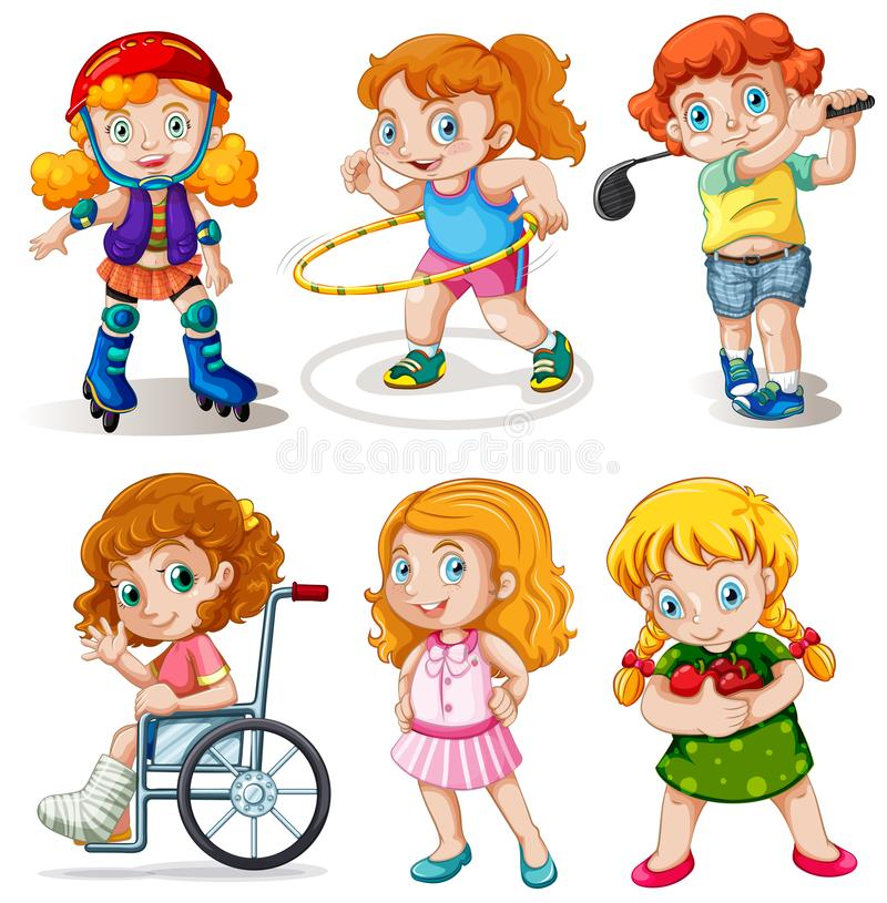 Set of chubby kids character. Illustration stock illustration