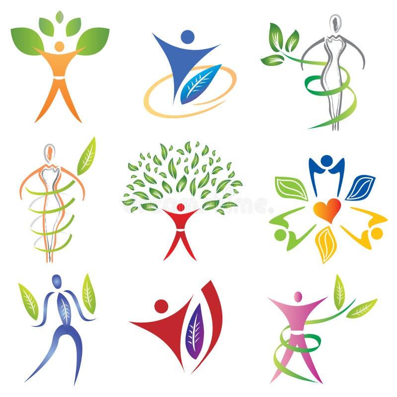 Set ciało ikony z liśćmi, ulistnienie elementami/ royalty ilustracja