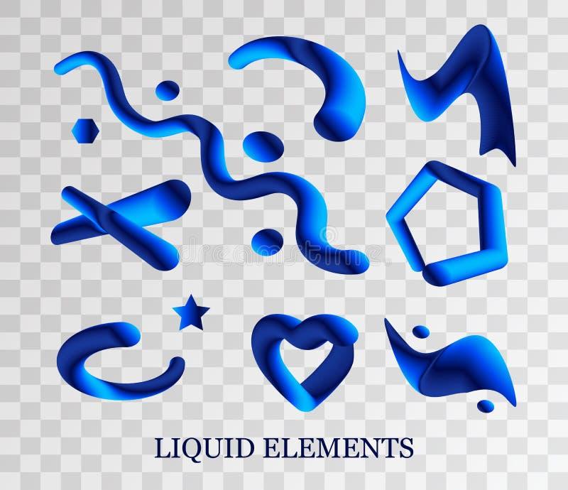 Set cieczy punkty, wybuch, pluśnięcie błękitna praforma kształtuje i krople są realistycznym rysunkiem ciecza 3D pluśnięcie odizo royalty ilustracja