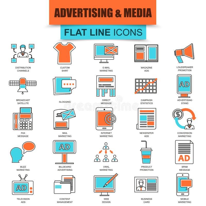 Set ciency kreskowi ikona reklamowych środków kanały ilustracja wektor