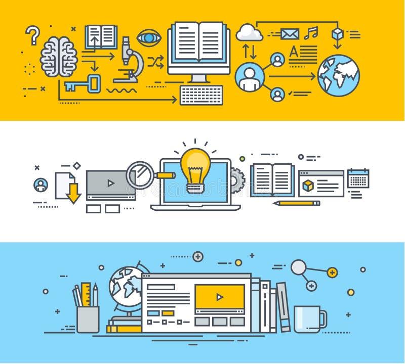 Set ciency kreskowi płascy projekta pojęcia sztandary dla online edukaci ilustracja wektor